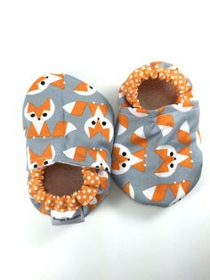 Fox baby shoes fox baby booties orange soft sole by BoogieBooties