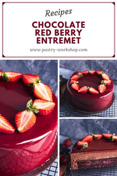 Red Berry Chocolate Entremet Recipe - Who doesn't love chocolate and berries? I for one am a huge fan (not necessarily taste wise anymo - French Desserts, Asian Desserts, Köstliche Desserts, Chocolate Desserts, Delicious Desserts, Dessert Recipes, Simple Chocolate Cake, Red Chocolate, Chocolate Decorations