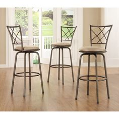 Avalon Quarter Cross-back Bar Stools (Set of 3) | Overstock.com