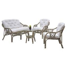 Brimming with heirloom-worthy style and on-trend appeal, this beautifully crafted design offers a storied finishing touch for your d�cor.  Product: Table, loveseat and 2 chairsConstruction Material: Wicker frame, polyfill and cottonColor: White Features: Will enhance any d�corDimensions: Table: 17.7 H x 19.7 DiameterLoveseat: 29.6 H x 45.3 W x 28.5 DChair: 29.5 H x 27 W x 24 D each