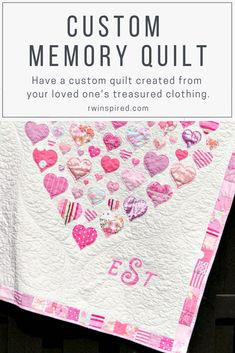 I understand how personal a memory quilt is, so I take great care in constructing a one of a kind piece that honors the treasured clothing you've entrusted to me. Beginner Quilt Patterns, Quilting For Beginners, Quilting Tutorials, Quilting Patterns, Quilting Ideas, Quilting Projects, Sewing Projects, Herringbone Quilt, Quilted Gifts