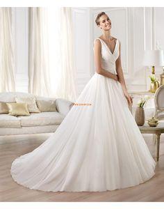 Spring 2014 Chic & Modern Sleeveless Organza V Neck Wedding Dresses 2014