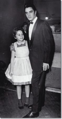 Brenda Lee aged 13 and Elvis Presley - This was Brenda's first Grand Old Opry Performance; December 1957 at the Ryman Auditorium in Nashville, Tennessee. She met Elvis Presley for the first time which is said to be one of her fondest memories.