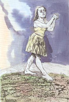 Paula Rego Voices (I) 1996-1998 Hand coloured etching and aquatint 29,5 x 20 cm Paper: 51 x 35,5 cm Série Children´s Crusade Artist's proof
