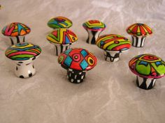 One more batch of the crazies.  NINE hand painted, bright, whimsical fun sweeties. The stems on these have been painted fun and funky designs in black (dots, stripes, checkerboard, etc). Very cute for a kids room or nursery.  Great on colored, black or white furniture. You have a brown dresser that needs some funk?  I can add brown in the mix to coordinate beautifully!  In fact, Im going to list several sets with brown just for wood furniture, in the coming weeks.  Knobs listed are a mix and…