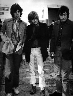 April 18, 1967. Mick, Brian and Charlie return home after the Stones' spring European tour