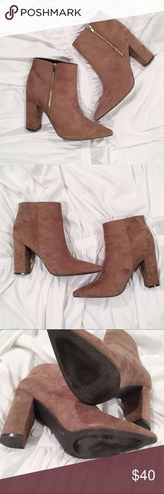 Taupe Faux Suede Pointed Toe Booties Bought size 10, but unfortunately cannot find the number that state this on the bottom or inside of shoes. Minimal wear - see pictures Shoes Ankle Boots & Booties