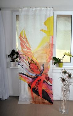 Hand painted silk curtain - Red Orchid