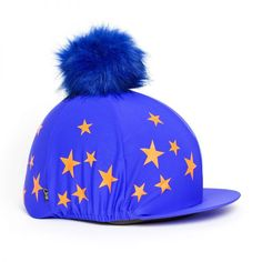 5c4d855d878 Blue  Orange Star Pom Pom Riding Hat Silk