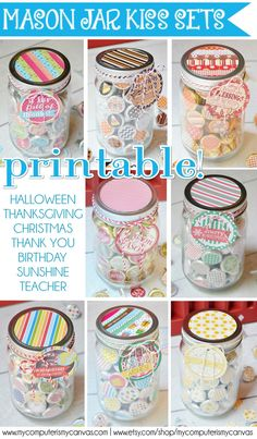 Hershey KISS Sticker printables for tons of occasions! All of her sets include a gift tag and a mason jar lid topper... Halloween, Thanksgiving, Christmas, Nativity, Thank You, Sunshine, Birthday, Names of the Savior - so cute! MUST PIN!! #mycomputerismycanvas