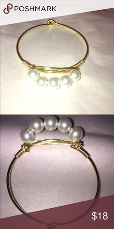 Gold clasp Pearl bracelet This is a gold clasp band bracelet with pearls attached. Would be a great birthday, anniversary, bridesmaid gift, or even just another piece to add to your own collection! Jewelry Bracelets