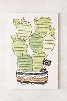Wit & Whistle Cactus Weekly Notepad at Urban Outfitters