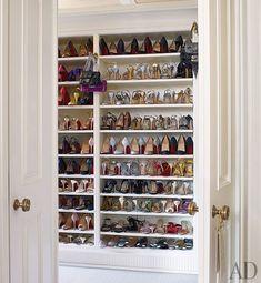 Architectural Digest - decks/patios - walk-in, shoe, closet, built in shoe shelves,  Michael S. Smith - Fierce! Lovely walk in closet housing