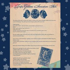 TRIPLE GODDESS INVOCATION Spell , Digital Download, Book of Shadows Page, Scrapbook, Wicca, Pagan, Witchcraft, White Magick, Magick Spell by MorganaMagickSpell on Etsy