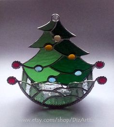 Christmas Tree Mobile Surprise Box of Stained Glass from Jelena DizArtEx on Etsy. #Christmas #surprise #box Новогодняя сюрпризница. Цветное стекло. Ручная работа от Jelena DizArtEx на Etsy.