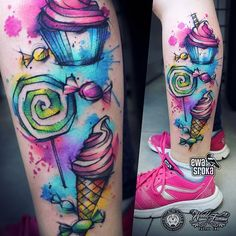 Sweetness overload #ewasroka #candytattoo #lollypop #lollypoptattoo #icecreamtattoo #cupcaketattoo #sweets #sweetstattoo #candy #tattoo #tattooart #tattooartist #colortattoo #watercolortattoo #watercolourtattoo #rainbowtattoo #girlytattoo #tattoogirl #ink #worldfamousink @worldfamousink @rocknroll_tattoo_warszawa