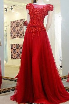 Red Prom Dress with Cap Sleeves, Prom Dresses,Graduation Party Dresses, Prom Dresses For Teens · BBTrending · Online Store Powered by Storenvy Prom Dresses For Teens, A Line Prom Dresses, Tulle Prom Dress, Cheap Prom Dresses, Formal Evening Dresses, Prom Gowns, Party Dresses, Gowns 2017, Quinceanera Dresses