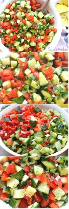 A light vibrant easy to throw together Mediterranean Cucumber. A light vibrant easy to throw together Mediterranean Cucumber Tomato Salad perfect alongside any savory meal all Summer long! Vegetarian Recipes, Cooking Recipes, Healthy Recipes, Lentil Recipes, Meal Recipes, Turkey Recipes, Rice Recipes, Cooking Tips, Chicken Recipes