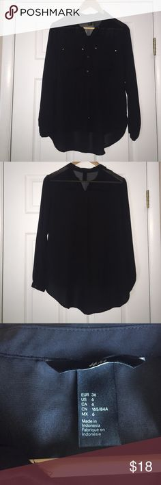 H&M Black Sheer Button Down Top This top is NWOT! Has never been worn and is in excellent condition! Black sheer button down with gold buttons. Can be worn for many occasions. Size is US 6. H&M Tops Button Down Shirts