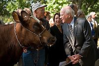 Sept. 15, 2009: From right, Sen. Patrick Leahy, D-Vt., and Sen. Amy Klobuchar, D-Minn., talk to Charles Yeager, owner of the cow named Maple Lawn Maggie, during a news conference on legislation to help dairy farmers.