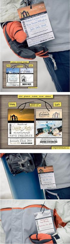 Custom ski pass lift ticket save the date wedding invitations From Winnipeg, Canada - EMPIRE INVITES Passport Wedding Invitations, Winter Wedding Invitations, Invites, Wedding Save The Dates, Save The Date Cards, Ski Wedding, Dream Wedding, 18th Party Ideas, Ski Pass