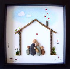 Pebble Art Family Gift- Unique Gift For Family of Five- Family of 5 pebble Art- Pebble People- Personalized Gift- Pebble Art by Medha Rode at www.etsy.com/shop/MedhaRode