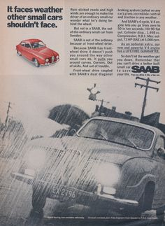 1969 SAAB Small Car Ad Vintage Advertisement Print by AdVintageCom