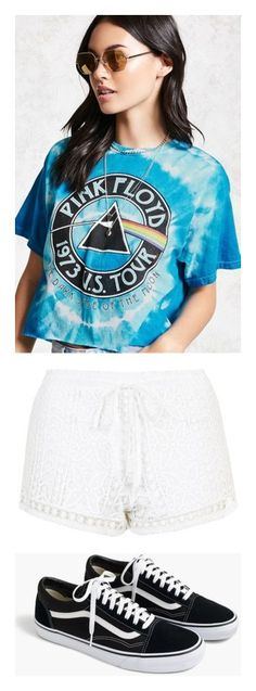 """""""school outfit 21"""" by originalsluvrz on Polyvore featuring tops, t-shirts, graphic tees, blue t shirt, tie dyed t shirts, tie dye crop top, graphic t shirts, shorts, bottoms and elastic waist shorts"""
