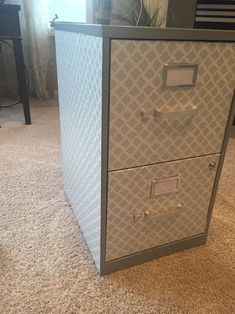 Covered a basic filing cabinet with contact paper :) so chic Desk Makeover, Cabinet Makeover, Furniture Makeover, Upcycled Furniture, Furniture Projects, Office Furniture, Office Decor, Diy Furniture, Office Ideas