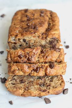 Healthy Vegan Chocolate Chunk Banana Bread that's 100% whole grain, perfectly sweet and moist, and takes less than 10 minutes to whip up!