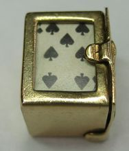 Miniature Deck of Cards Vintage 14k Gold Charm in a box that opens..