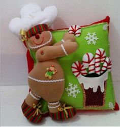 Gingerbread-candy cane felt pillow-no pattern. Christmas Cushions, Christmas Pillow, Felt Christmas, Christmas Stockings, Christmas Crafts, Christmas Decorations, Xmas, Christmas Ornaments, Holiday Decor