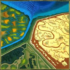 Split Personality map art quilt by Linda Gass. rtist Statement: This is a partial view of Greco Island near Menlo Park in the San Francisco Bay. Greco Island is one of the few preserved wetlands of the bay. Just to the right of it is the Ravenswood Salt Pond. Greco Island and the salt pond are separated by a man-made channel that visually and physically splits the preserved wetland from the once wetland.