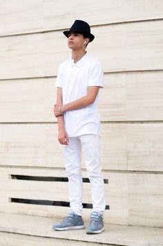 #AJ #Fedora #Polo #White #Grey #Black #Fashion