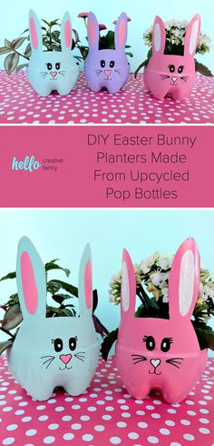 These DIY Easter Bunny Planters are made using recycled pop bottles! Bright and colorful they are a fun craft for a table centerpiece, front porch or handmade gift! bottle crafts DIY Easter Bunny Planters Made From Upcycled Pop Bottles Easter Crafts For Kids, Preschool Crafts, Diy For Kids, Easy Crafts, Easter Games, Easter Food, Easter Dinner, Easter Party, Easter Treats