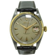 Vintage Rolex Datejust Ovattone stainless steel and gold wrist watch, circa This Swiss watch has perpetual 20 jewel 745 caliber movement Watch Companies, Watch Brands, Antique Watches, Vintage Watches, Rolex Watches, Watches For Men, Wrist Watches, Oversized Watches, Rolex Logo