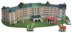 """Hampton Castle of Sterling Diorama Paper Model - by Wurlington Press - == -  Wurlington Press created this really beautiful paper model diorama of """"secular architecture"""" to promote the International Paper Modelers Convention, held annually in Virginia, USA."""
