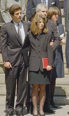 JFK Jnr and Caroline at their mother's funera