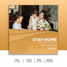 Stay home banner template Banner Store, Instagram Feed, Instagram Posts, Image File Formats, Instagram Post Template, Social Media Template, Banner Template, Free Images, Animals Photos