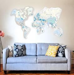 Large World Map Wall Decor by GaDenMap. Travel map for wall decor in office room, bedroom, living room, kid's room decorating. Wall decor map, wall decor world map, wall decor blue, wall decor push pin map, wall decor travel. This large world map will totally transform the aesthetics of a room. It will let your visitors know your love for adventurous. Make it your travel map using 30 push pins that come for free with the world map #worldmapdecor #homedecorideas #livingroomdecor