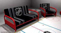 an addition to the hockey room Hockey Man Cave, Hockey Mom, Hockey Stuff, Hockey Girlfriend, Hockey Girls, Hockey Decor, Hockey Crafts, Futon Sets, Blackhawks Hockey