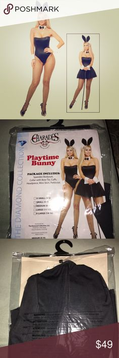 SEXY PLAYTIME BUNNY COSTUME If you're planning a cocktail party for Halloween, this Sexy Playtime Bunny Costume is a perfect costume to wear! It's versatile, so you can get two different looks depending on whether or not you choose to wear the skirt. Either way, add fishnet tights, sexy shoes and a cane for a sexy formal look. Strapless bodysuit, comes w/ removable hanger straps Black bow tie on white collar Black and white bunny ears on headband Halloween Dresses Strapless