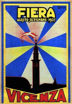Vintage Italian Posters ~ #illustrator #Italian #posters ~ L. Veronese, Fiera di Vicenza. 1927