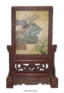 This antique display panel has wooden frame and ancient beauty in a villa motif hand painting on the stone in the middle. This is  unique oriental decor for your house and also collectable.
