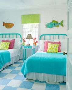 70 Amazing Colorful Bedroom Decor Ideas And Remodel for Summer Project 33 – Home Design Beach Bedroom, Beach House Decor, Colorful Bedroom Decor, Bedroom Decor, Beach Cottage Decor, Cottage Decor, Beachy Bedroom, Home Decor, Room