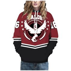 Fashion Pockets Oversize Long Sleeve Color Block Letter Print Unisex... ($37) ❤ liked on Polyvore featuring tops, hoodies, hooded pullover, red long sleeve top, sweatshirt hoodies, color block hoodie and long sleeve hoodie