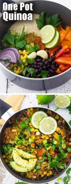 This vegan one pot Mexican quinoa chili is one of my favorite vegetarian recipes for busy weeknights! It's super healthy and so easy to make!
