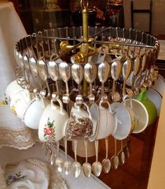 Creative Light Fixtures To Make | ... Ideas Recycling Tableware And Kitchen  Utensils Into