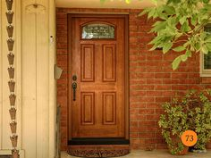 """Provia Signet Series Classic 36"""" x 6 ft 8"""" Single Fiberglass Entry Door. Model 419 Cherry skin with Tranquility Glass and Patina Caming. Exterior Surface Stained American Cherry. Emtek Knoxville hardware. Installed in Anaheim, CA home."""
