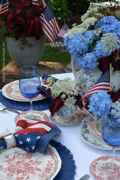 Red white and blue table scape, Memorial Day, Fourth of July